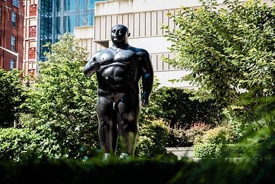 """Adam"" a sculpture by Fernando Botero in Seattle. Added a texture overlay."