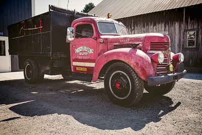 An old, red Dodge truck, Edison, Washington.