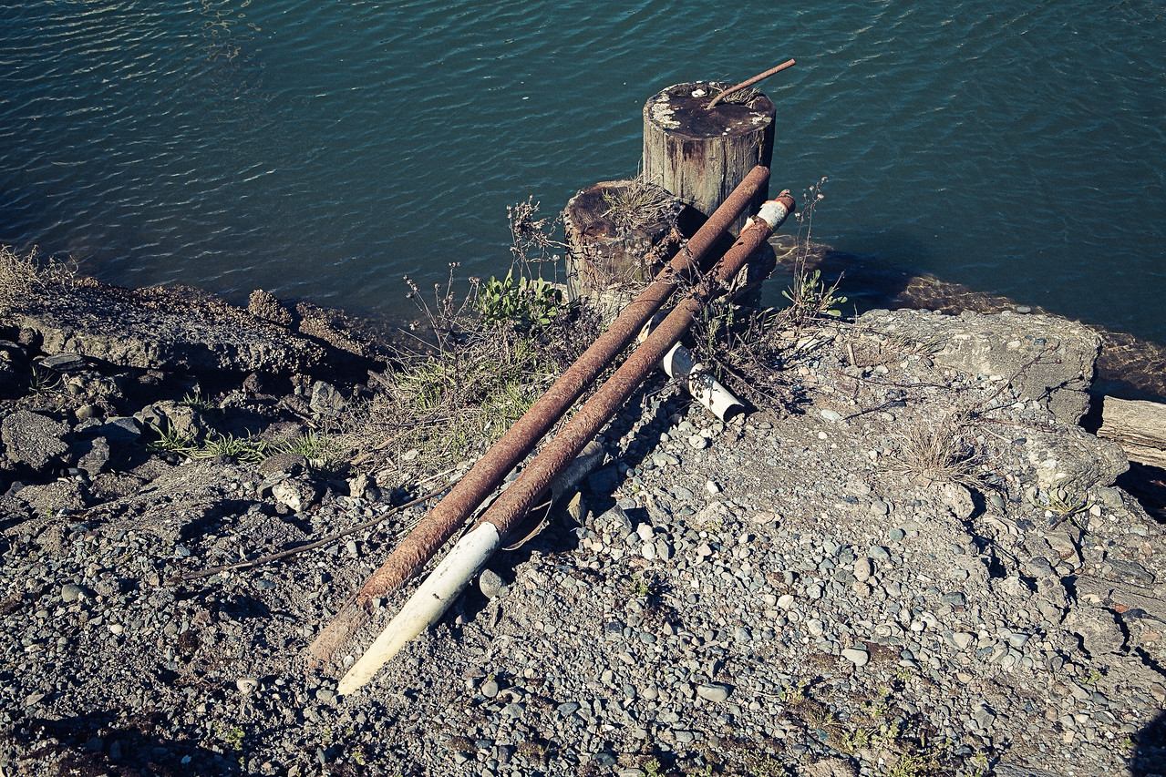 Two Pilings, Two Rusty Pipes