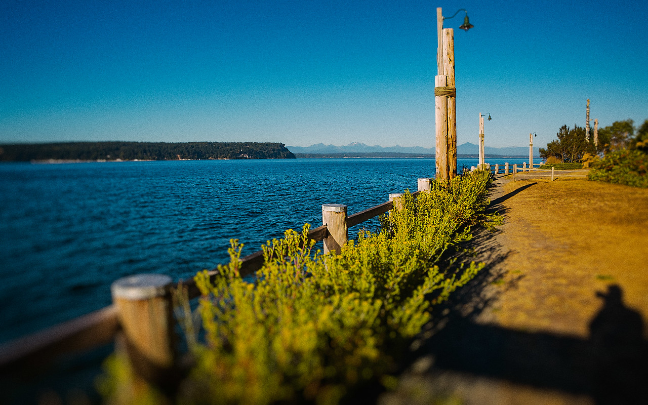 Park pathway along the ocean in Langley, WA.