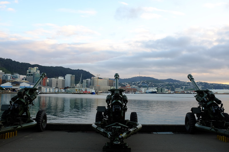 10 guns in readiness for the 100 gun salute commemorating Britain entering World War I