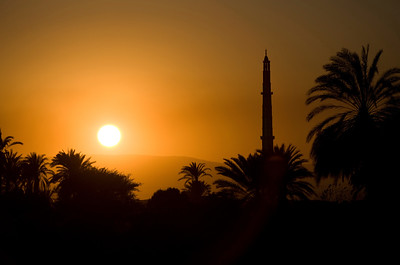 Mosque sunset, Nile River, Egypt
