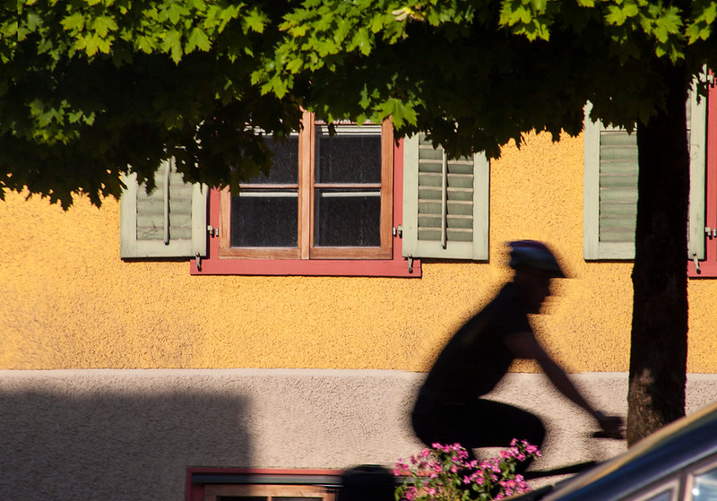 A cyclist along the main road through Liechtenstein.