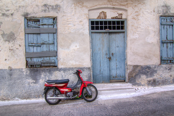 Moped in the streets of Poros, Greece