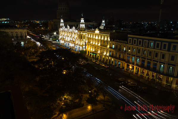 Traffic trails on Paseo del Prado