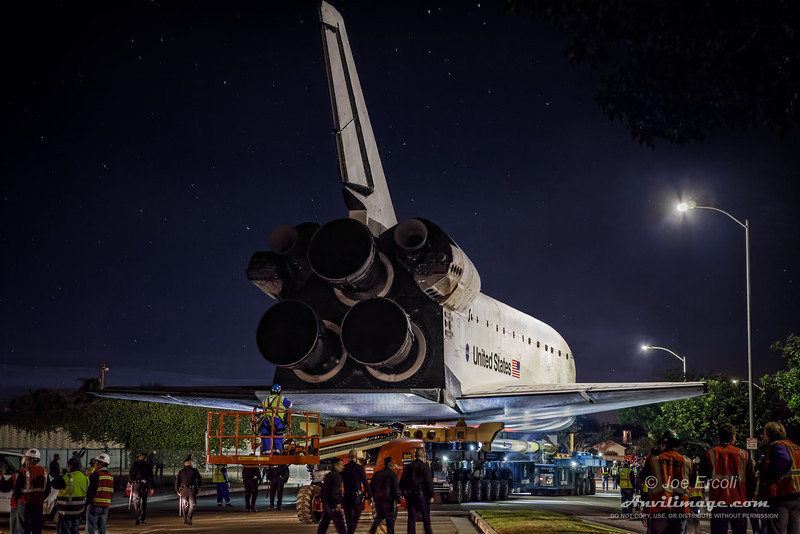 <strong>Her Last Journey Under the Stars</strong><br>This was taken just after the Shuttle Endeavour left LAX on its 12 mile trip to the California Science Center through the streets of Los Angeles.