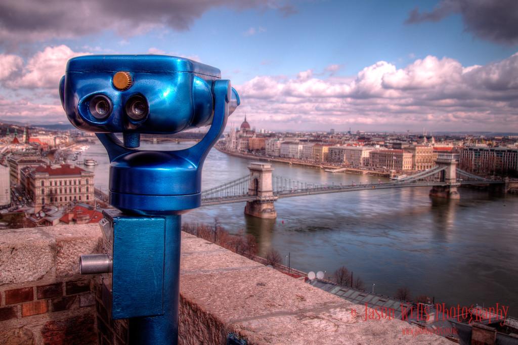 Binoculars overlooking Chain Bridge, Hungarian Parliament Building & Margaret Bridge, Budapest.
