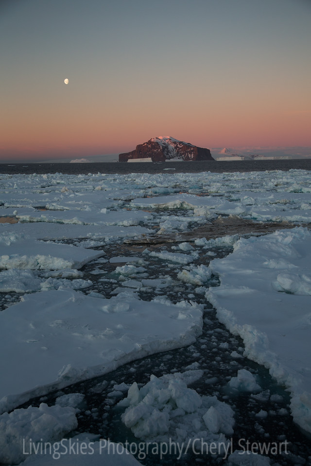 Antarctic Moon & sunset