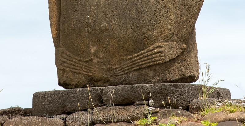 Moai - detail  fingers and fingernails
