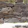 Maoi face becomes part of the support wall - Anakena