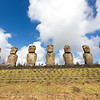 Ahu Akivi,  The Moai on the Island average 13 feet high, and 13 tons, sit ontop of stone designs called an Ahu, which contain burial chambers