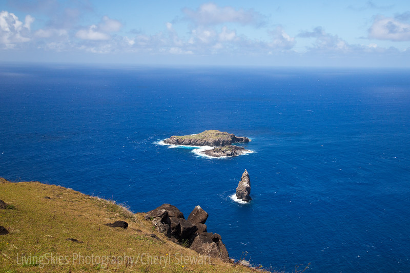 The view of the Motu Nui, islets, where the seabirds nested.  Birdman competitors would have climbed down the 300 foot cliffs and swam to the island, stayed for days or weeks waiting for the seabirds. Once they had what they believed was the first egg of the Sooty Tern, Manutara, they would swim back and attempt to climb the cliff.