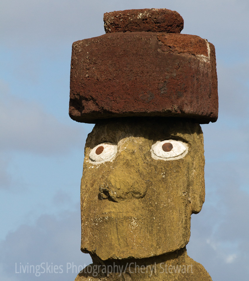 Ahu Ko Te Riku -  The restored moai eyes, whites would have been carved from coral, and the iris, black obsidian ( black diamond ) found on the island, or from red scoria ( like the hats)