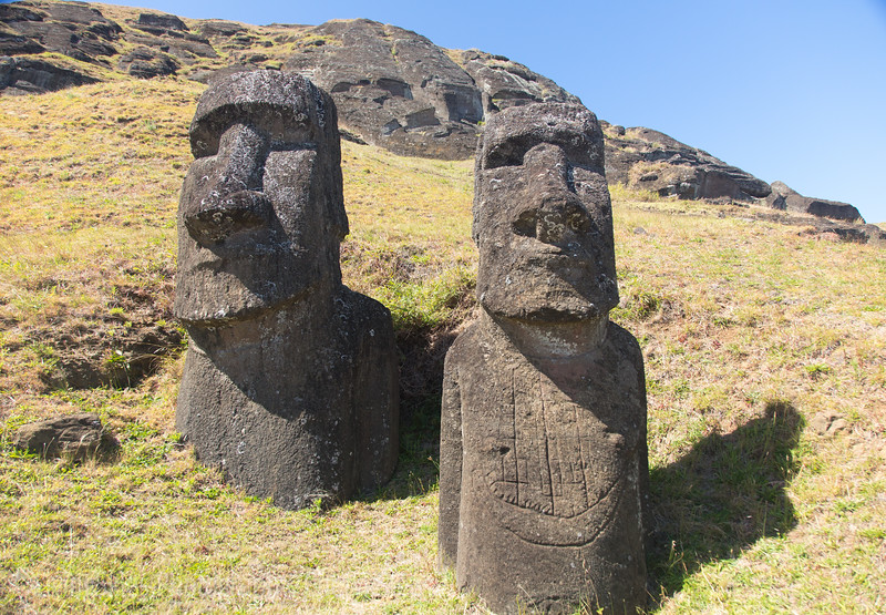 Rano Raraku -  of the moai in the quarry had top hats, as they are carved in a different location, and moved to the moai's final destination.