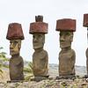 Moai with top hats at Ahu Nau Nau