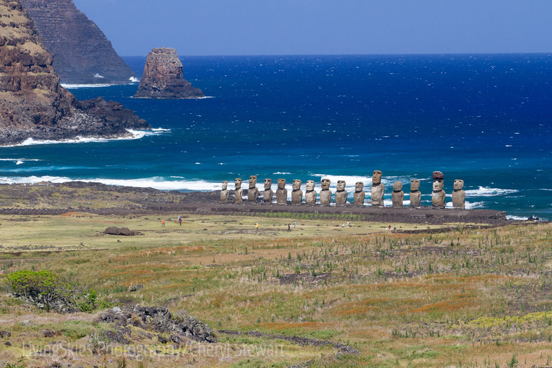 Ahu Tongariki from the hills above