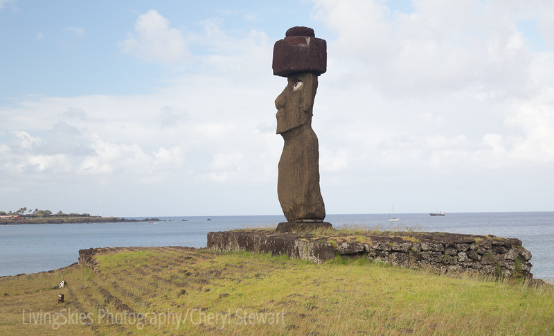 Ahu Ko Te Riku  - this moai has been restored to include the eyes, which all moai would have had once erected.