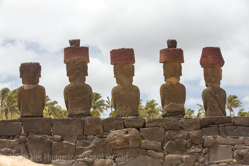 Anakena, base wall of the Ahu , rebuilt using whatever stone was available, including pieces of fallen or broken moai