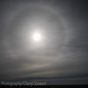 The moon with a perfect circle of ice fog