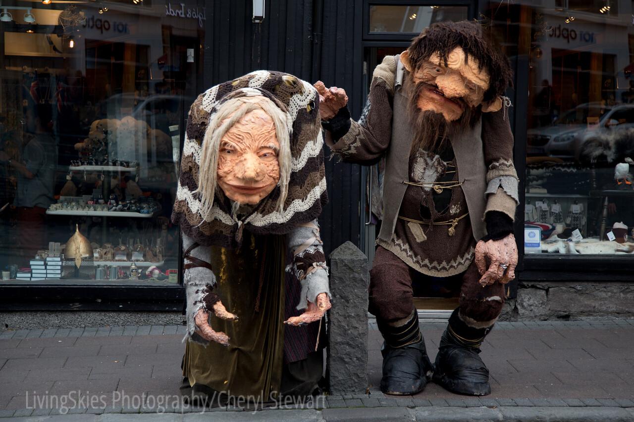 Troll statues - shopping street, Reykjavik