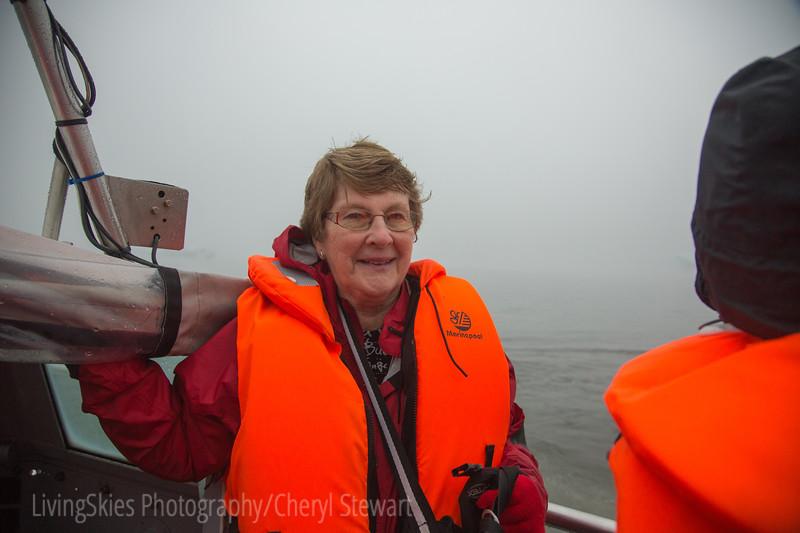 Glenda, on the iceberg cruise, Glacial Lagoon