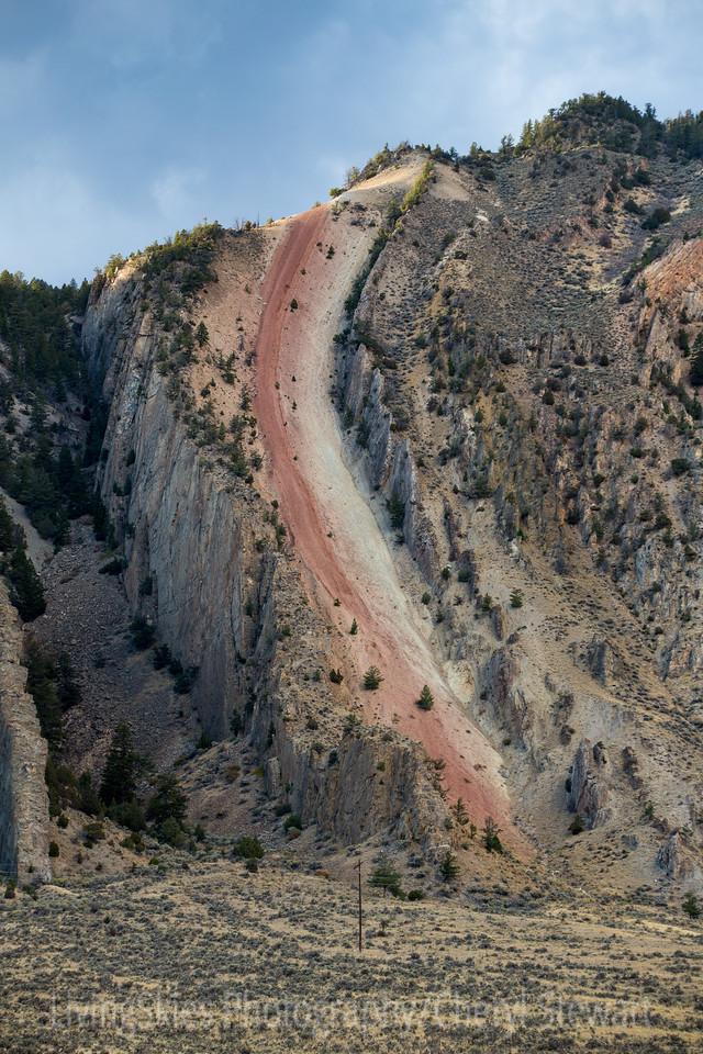 Rock slide  just outside Gardiner Mt