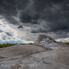 White Dome Geyser under storm clouds   YNP