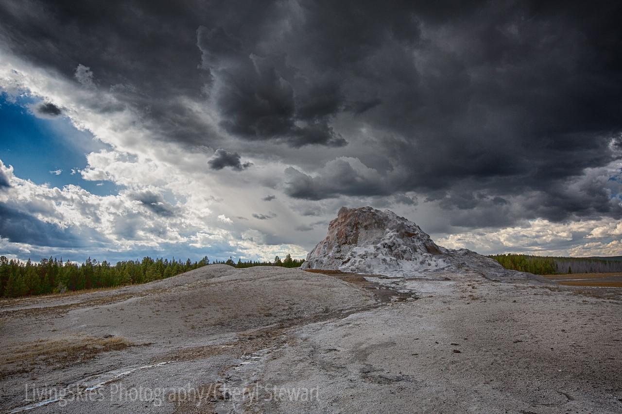 White Dome Geyser under storm clouds   YNP