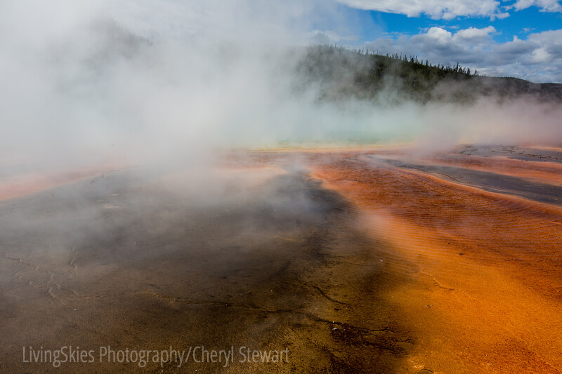 Grand Prismatic Spring shadowed in steam, YNP