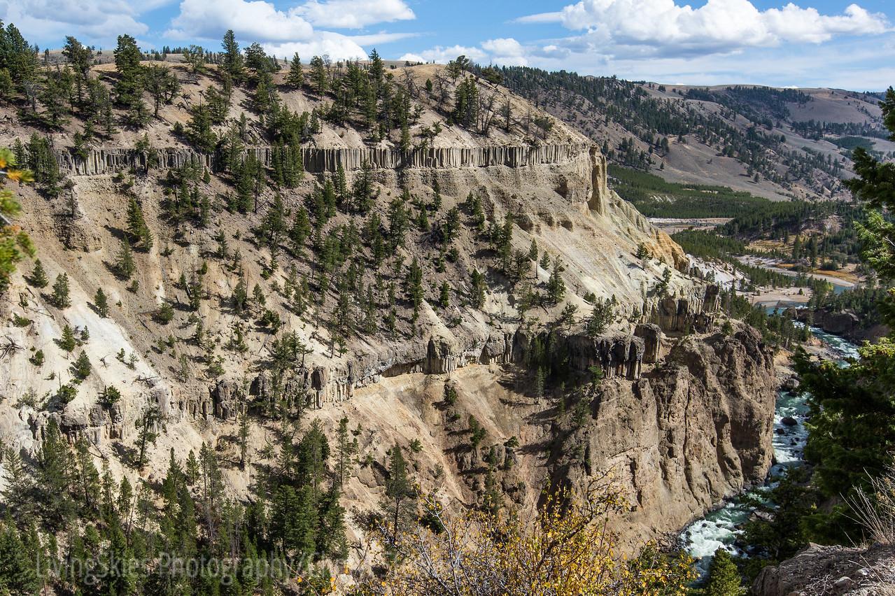 Columnar basalt flows in Yellowstone National Park