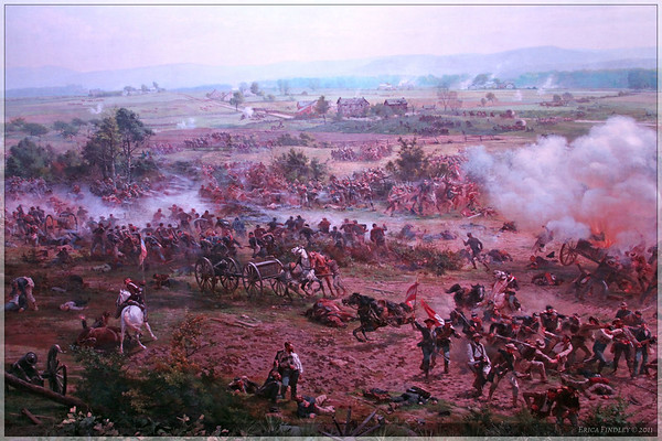 A picture of the cyclorama in the museum.  The painting was amazing...It was neat to see the battle field in a 360 degree view