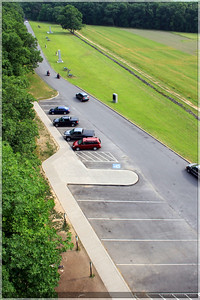 A view of the parking lot from the observation tower.