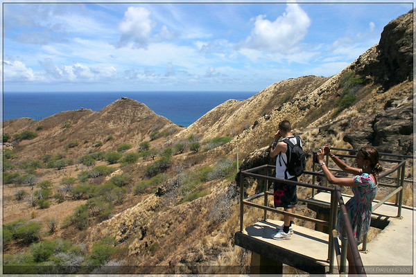 One of the overlooks off the trail at Diamond Head.
