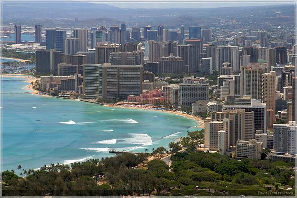 Honolulu and Waikiki beach as seen from the top of Diamond Head.