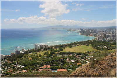 I finally made it to the top and was rewarded with this view of Honolulu and Waikiki beach.