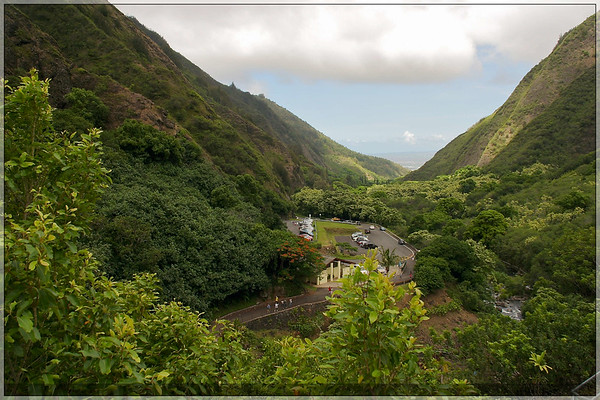 A look down the valley back towards the parking lot.  The Rest of Maui is through the opening in the mountains.