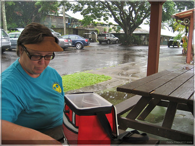 It rained on us the whole day, but we found a covered place in Hana to eat a lunch.  We bought a hamburger there.