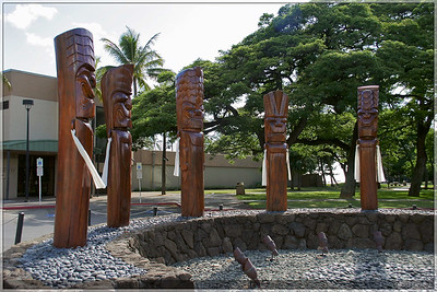 These were in front of a museum close to Waikiki beach. I'm not really sure what they stood for, but they were neat to see.