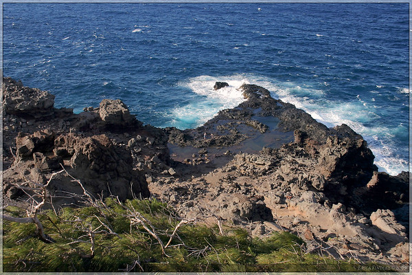 This area was dubbed the Olivine pools.  People could swim in the calm pools surrounded by the crashing ocean.