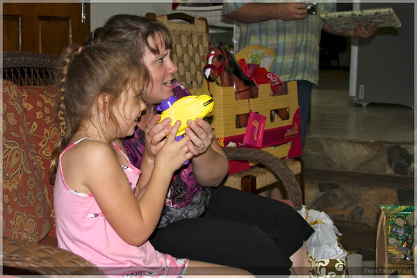 Rebecca and I gave the three Gerhart children foam disc guns...two each!  We had fun with those ourselves at some point! :)