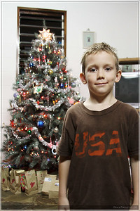 Boaz posing in front of the tree!