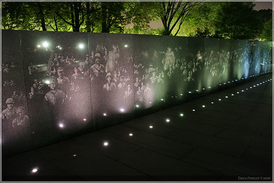 The wall for this memorial had hollographic type faces that showed up under the spotlight.  It was a very neat effect.