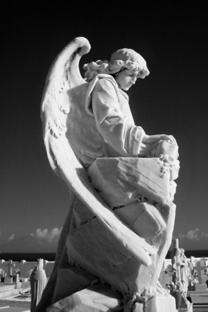 San Juan, PR: Exquisite statuary in the Santa Maria Magdalena de Pazzis Cemetery (Infrared)