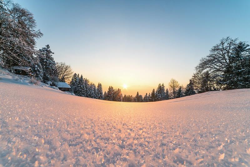 Oberhalb von Götzis, Sonnenuntergang bei den Schweizer Bergen