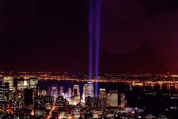 Tribute of Light, New York City, commemorates the World Trade Center attacks on September 11, 2001