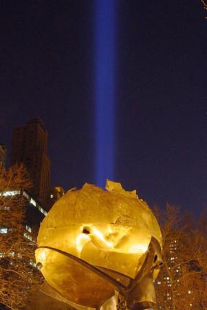 Tribute of Light, New York City, commemorates the World Trade Center attacks on September 11, 2001