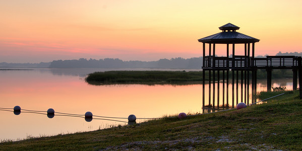Sunrise on Lake Hernando at public park.