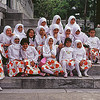 Group of children outside Blue Mosque in istanbul.<br /> Sang for our group.