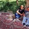 "Couple enjoying break from heat with locat drink of ""raki"". Near Cappadocia"