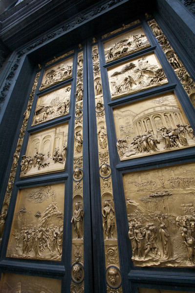 cast bronze doors to the baptistry